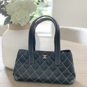 Chanel Black Quilted Surpique Tote